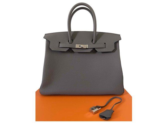 Hermès Birkin 35 Handbags Leather Grey ref.269720