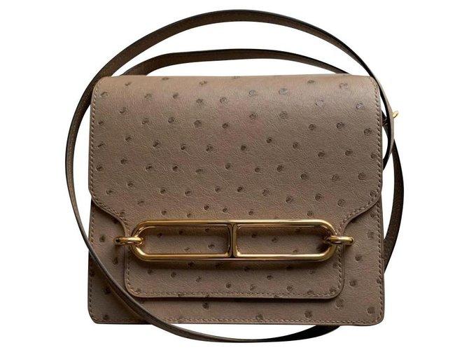 Hermès mini roulis Handbags Exotic leather Grey ref.269721