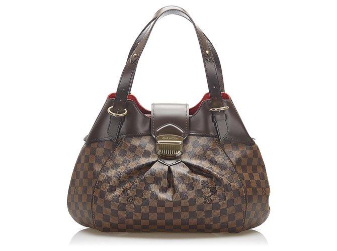 Louis Vuitton Brown Damier Ebene Sistina GM Dark brown Leather Cloth Pony-style calfskin  ref.269910