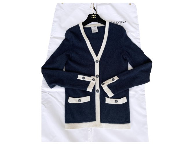 Chanel CC buttons cashmere cardigan Knitwear Cashmere Navy blue ref.269929