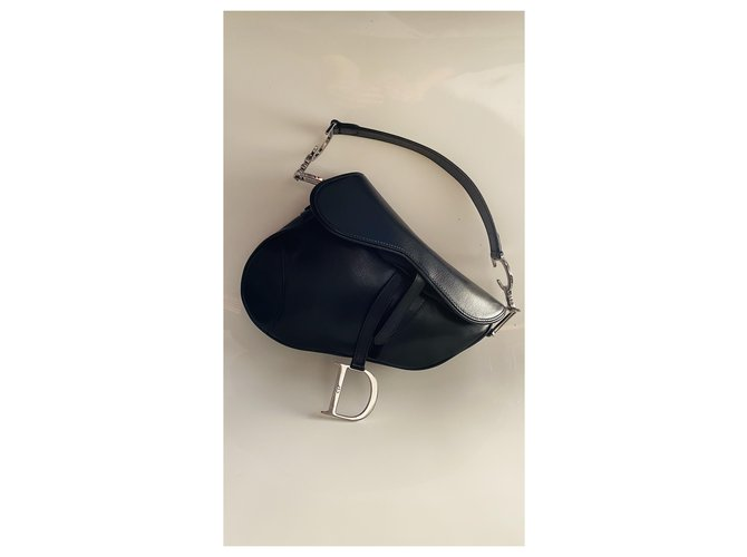 Christian Dior Saddlebunch Black Silvery Leather  ref.270046