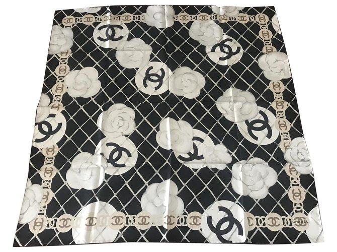 Chanel SCARF CHANEL SILK Scarves Silk Black ref.270481
