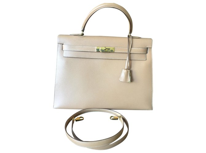 Hermès Kelly 35 Handbags Leather Beige ref.270707
