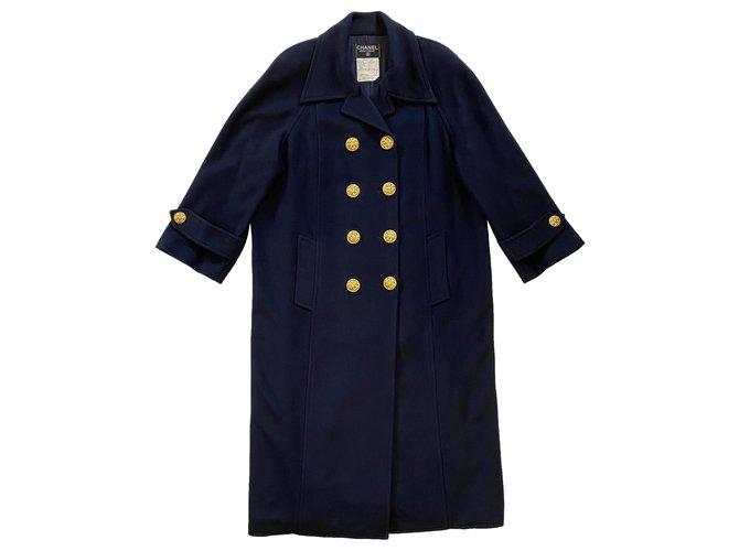 Chanel Coats, Outerwear Coats, Outerwear Silk,Cashmere Navy blue ref.272056