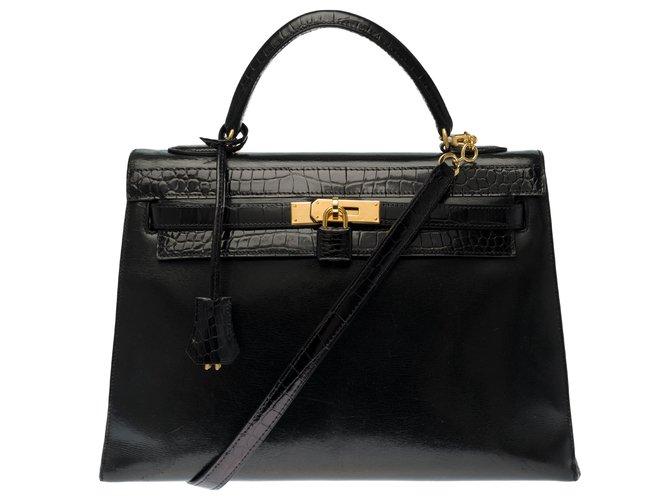 Splendid Hermès Kelly 32 black box leather saddle customized with black porosus crocodile Exotic leather  ref.272068