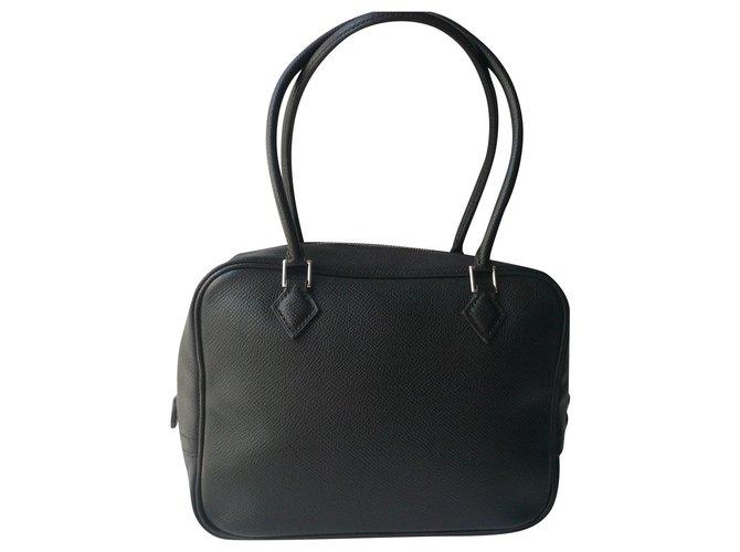 Hermès HERMES - MINI EPSOM CALF FEATHER BLACK very good condition Handbags Leather Black ref.272524