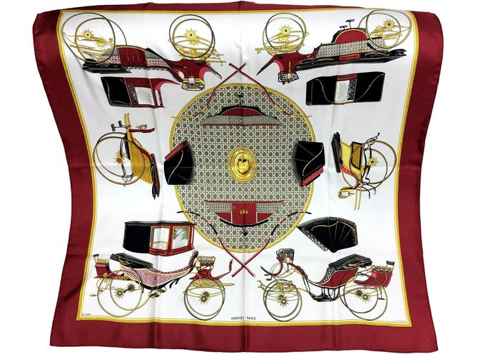 """Carré Hermès """"Transformation cars"""" by F. de la Perrière Multiple colors Silk  ref.272783"""