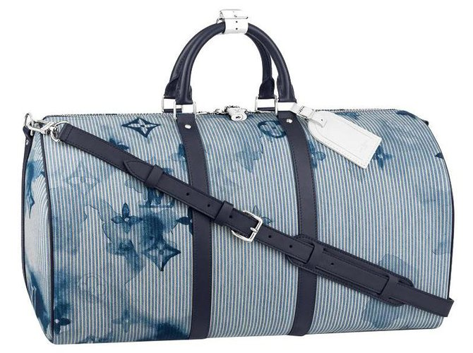 Louis Vuitton LV Keepall 50 Bags Briefcases Cotton Blue ref.273040