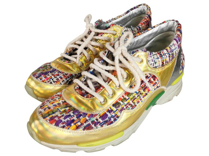 Chanel Basket Sneakers Leather,Tweed Golden ref.273186