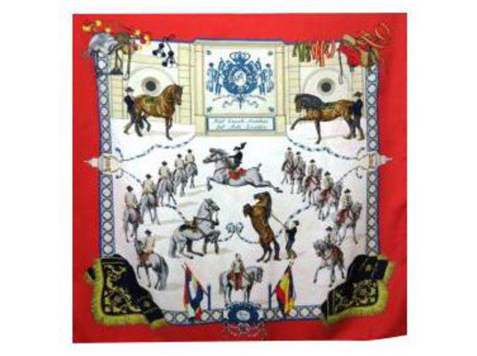"-CARRÉ HERMÈS titled: ""Réal Escuela Andaluza del Arte Equestre"" Red Silk  ref.273250"
