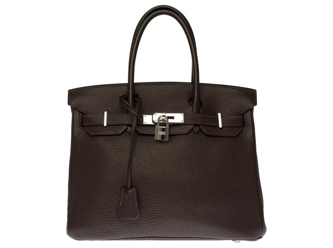 Splendide Sac Hermès Birkin 30 en Togo marron, garniture en métal argenté palladié Cuir  ref.273416