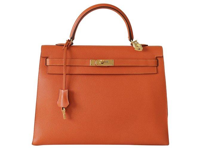 Hermès Handbags Handbags Leather Orange ref.273471