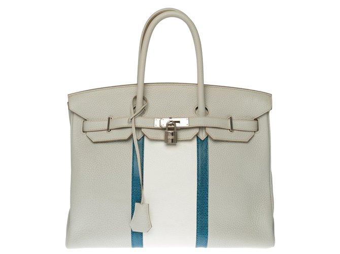 Splendide et Rare Hermès Birkin Club 35cm en cuir Taurillon Clémence gris perle et lézard bleu Mykonos, garniture en métal argenté palladié Cuirs exotiques Blanc  ref.273473