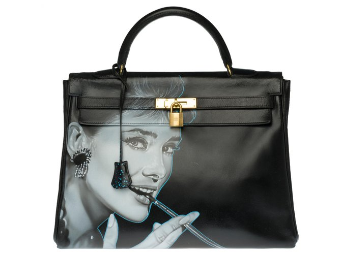 "Hermès Beautiful Hermès Kelly bag 35 in black box leather customized ""Audrey Hepburn"" Handbags Leather Black ref.273849"
