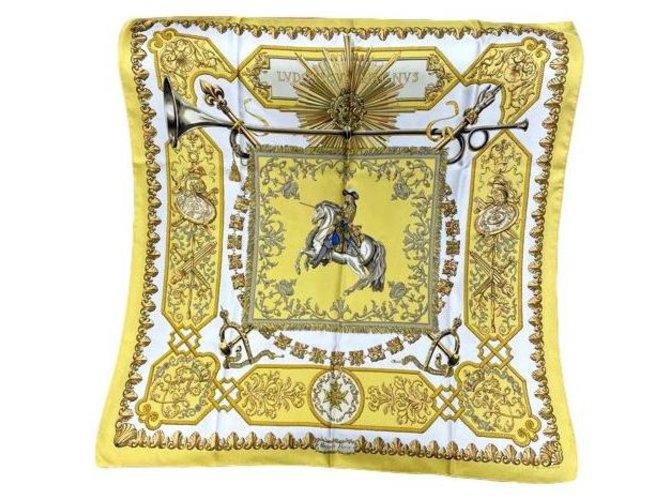 """Hermès Carré Hermès Collector """"Ludovicus magnus Magnus"""" by F. de la Perrière Silk scarves Silk Yellow ref.274304"""