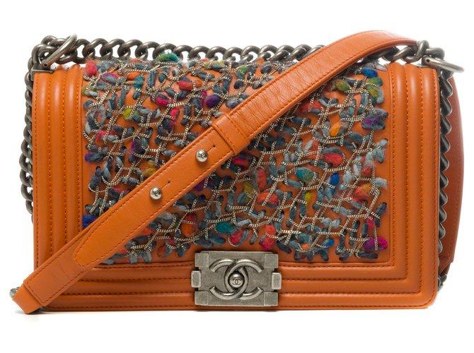 Chanel Limited edition - Chanel Boy old medium shoulder bag in orange leather and tweed, Aged silver metal trim Handbags Leather,Tweed Orange ref.274371