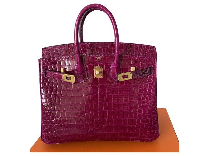 Hermès Birkin 25 Handbags Exotic leather Pink ref.274568
