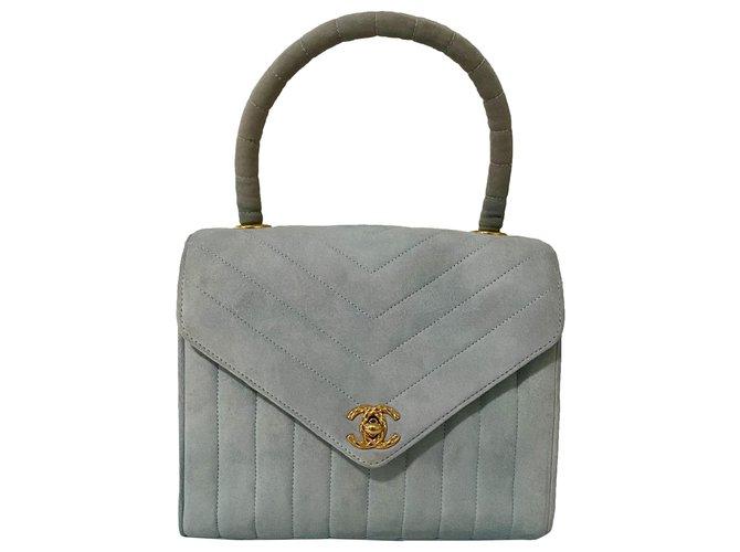 Chanel Handbags Handbags Suede Dark grey ref.274612