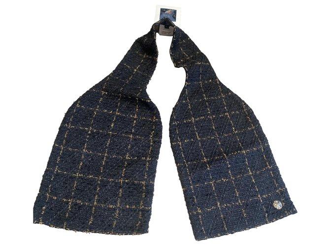 Chanel Scarves Scarves Tweed Black,Golden ref.274859