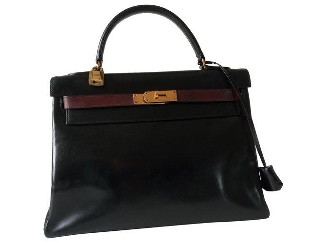 Hermès Hermès Kelly Bicolor bag Handbags Leather Black ref.274887