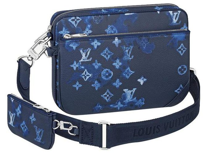 Louis Vuitton LV Trio messenger watercolor Bags Briefcases Leather Blue ref.275245