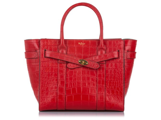 Mulberry Mulberry Red Croc Embossed Leather Satchel Handbags Leather,Pony-style calfskin Red ref.275447