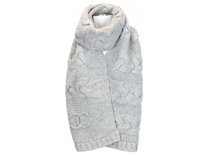 Chanel Scarves Grey Wool  ref.275960