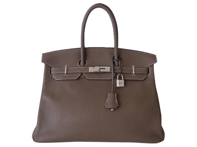 Hermès Sac Hermes Birkin 35 étoupe Cuir Gris  ref.275973