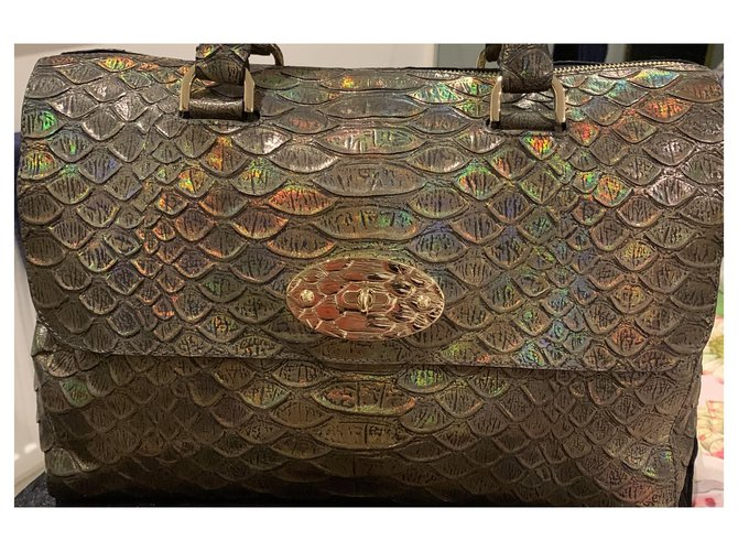 Mulberry Mulberry Brown Python Embossed Lily Handbag Handbags Leather,Other Brown,Multiple colors ref.276105
