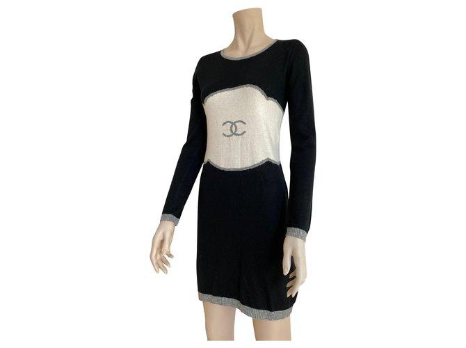 Chanel Chanel bodycon logo long sleeve dress Dresses Wool Black ref.276244
