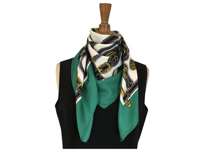 Hermès presidents harness Silk scarves Silk Multiple colors,Dark green ref.276259