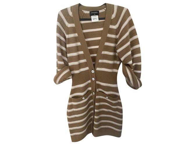 Chanel Knitwear Knitwear Cashmere White,Light brown ref.276797