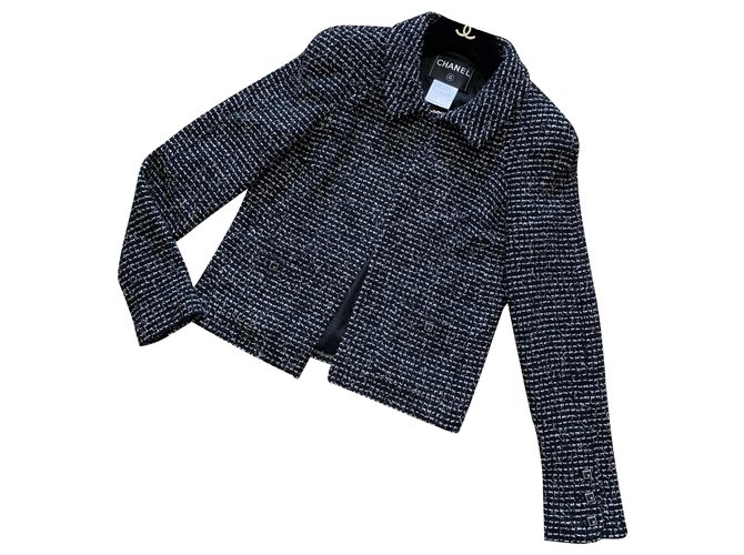 Chanel Chanel 2003 Cruise Collection Jackets Tweed Black ref.277117
