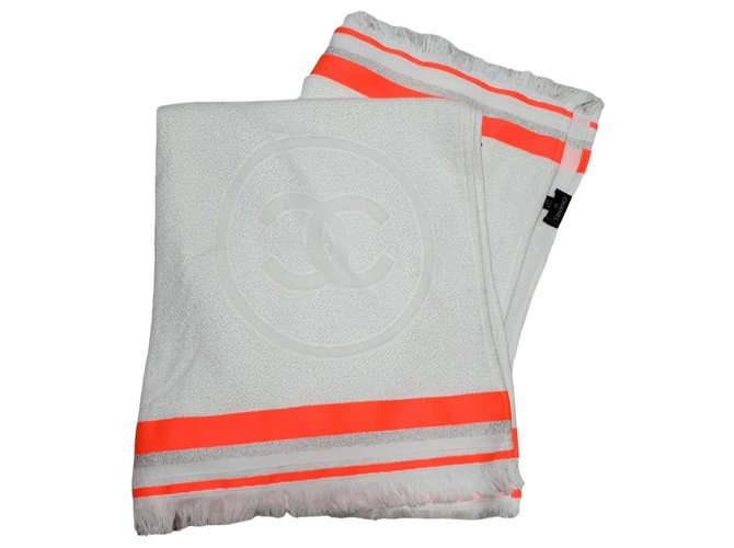 Chanel Chanel towel 2018 Swimwear Cotton Silvery,Beige,Orange ref.277149