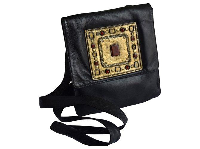 Chanel Unique Collectors Bag Handbags Leather Black ref.277185