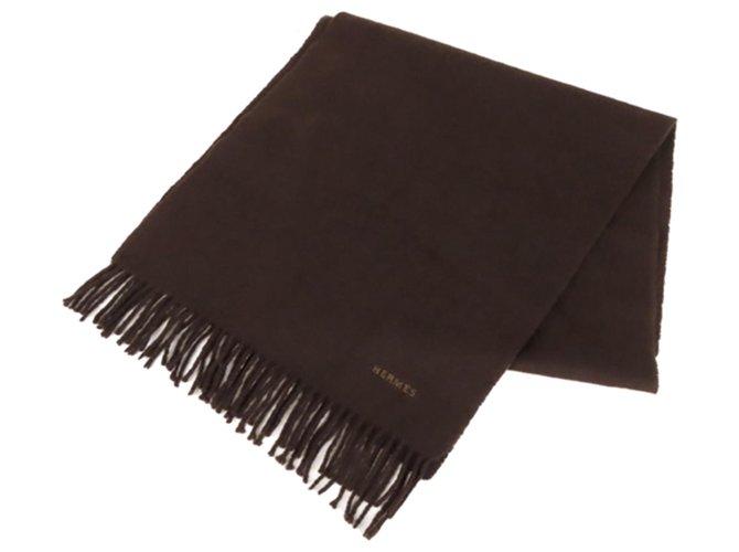 Hermès Hermes Brown Cashmere Scarf Silk scarves Other,Cloth Brown,Dark brown ref.277236