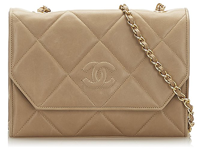 Chanel Chanel Brown CC Timeless Lambskin Leather Flap Bag Handbags Leather Brown,Beige ref.277318