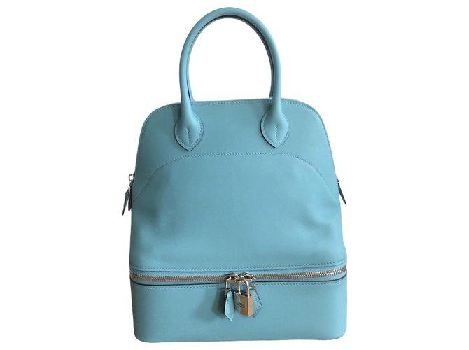 Hermès Hermes Bolide Secret 24 blue leather Handbags Leather Blue ref.277393