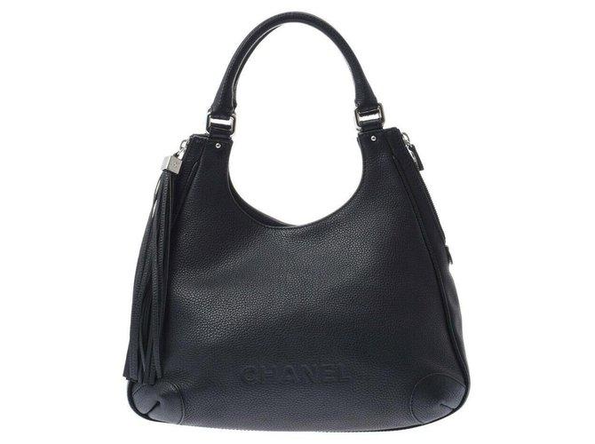 Chanel Chanel shoulder bag Handbags Pony-style calfskin Black ref.277399
