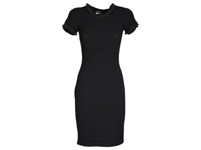 Chanel Dresses Dresses Wool Black ref.277405