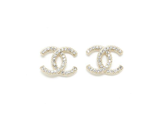 Chanel GOLDEN CC STUDS L BRAID EDGES Earrings Metal Golden ref.277450