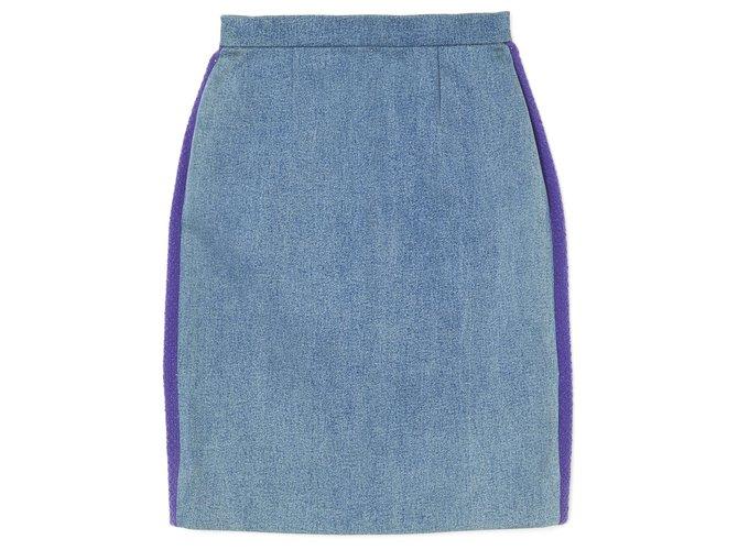 Chanel FW1991 DENIM TWEED FR36 Skirts Denim Blue ref.277479