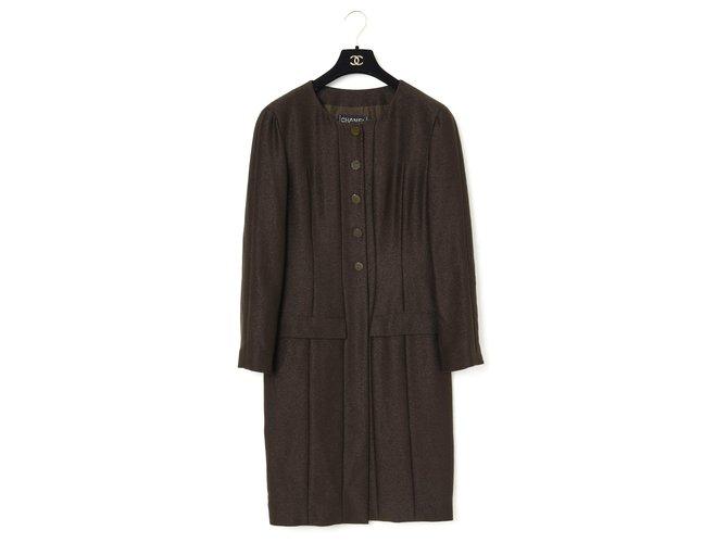 Chanel FW99 BROWN NATTE FR42 Coats, Outerwear Wool Dark brown ref.277550