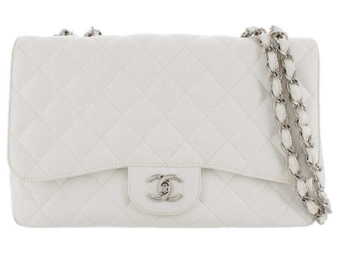 Chanel Chanel White Jumbo Classic Caviar Leather Flap Bag Handbags Leather White ref.277661