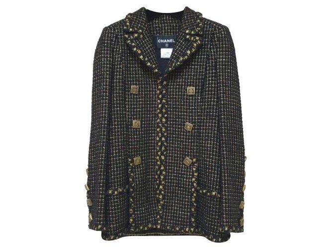 Chanel Chanel 11A Paris-Byzance Black Gold Gripoix Buttons Jacket Coat Sz.36 Jackets Tweed Multiple colors ref.277800