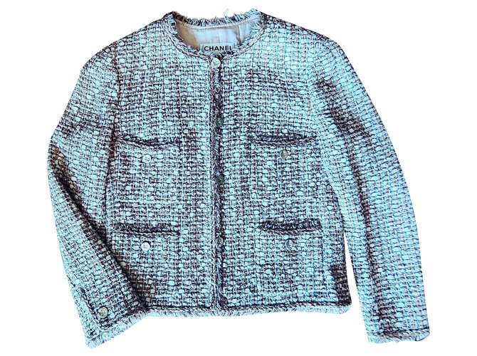 Chanel Iconic Chanel tweed jacket Jackets Silk,Cotton,Wool Multiple colors,Eggshell ref.278786