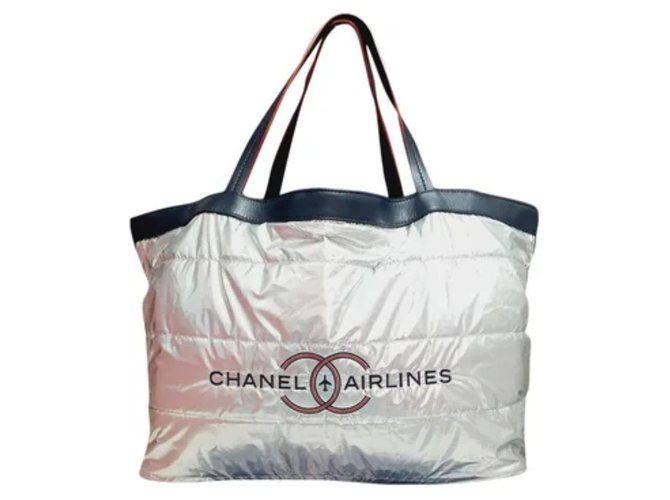 Shopper chanel airlines Silvery Navy blue Cotton Varnish  ref.280940