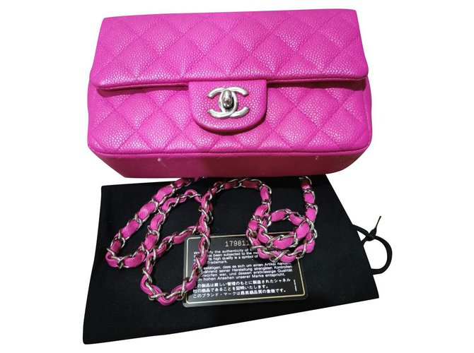 Chanel Chanel pink Caviar mini classic flap bag Handbags Exotic leather Pink ref.281231