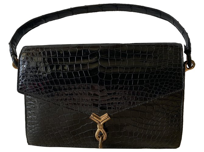 Hermès CORDEAU Handbags Exotic leather Black ref.282274