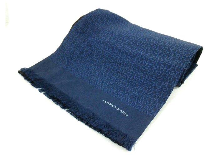 Hermès Hermès scarf Silk scarves Wool Blue ref.282421